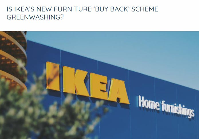 Euronews article that asked if IKEA was greenwashing with its new buy-back sceme